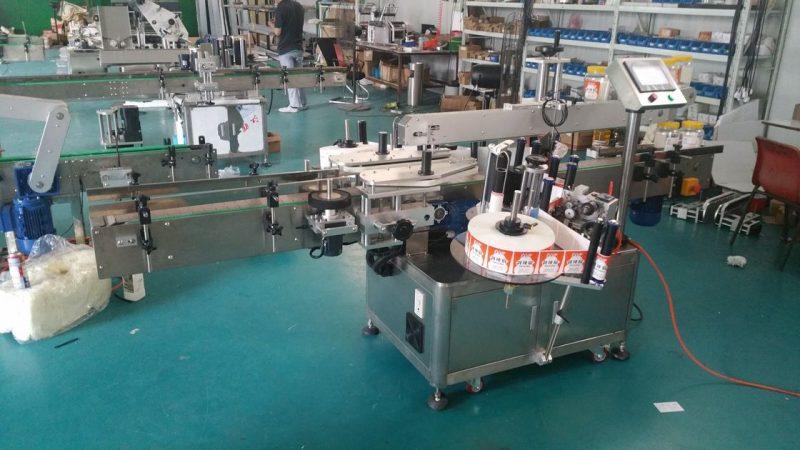 Kína automatikus palack címkéző dupla oldalsó matrica címkéző gép tasakok állva szállító