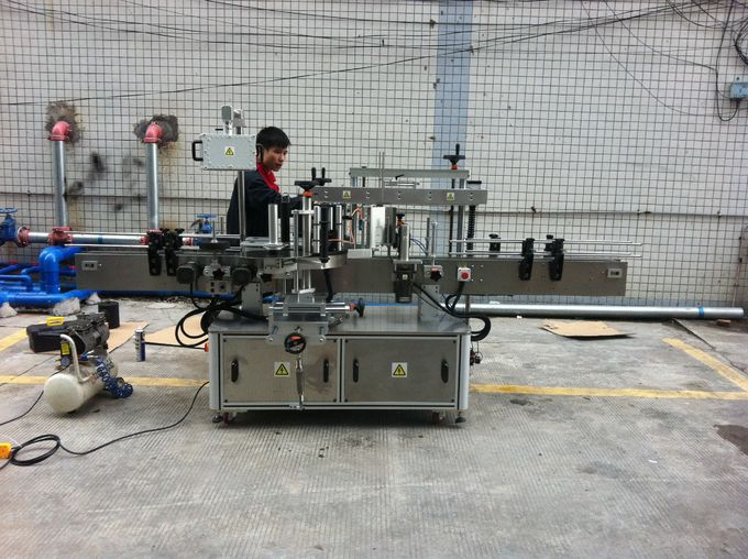Teljesen automatikus ragasztó kerek palack címkéző gép házi kedvenc palackokhoz elöl és hátul